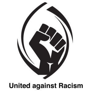 "A raised fist, black on white, surrounded by a stylized outline of a Christian fish symbol. Underneath it reads ""United against racism""."