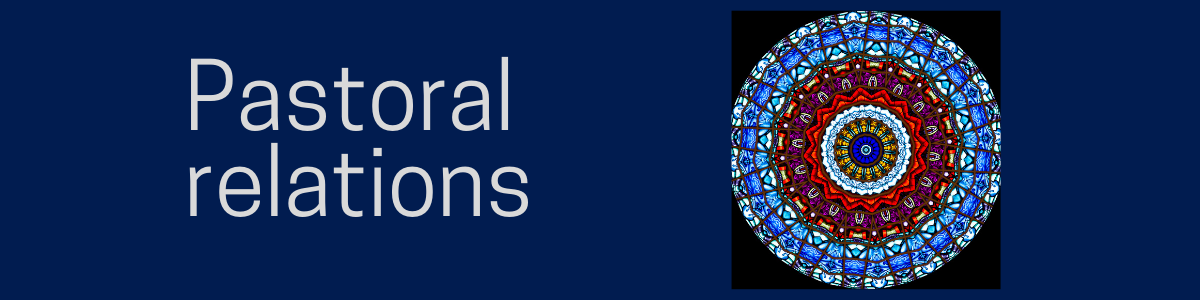 """""""Pastoral relations"""" on a blue background with a stained glass circle in blue and red."""